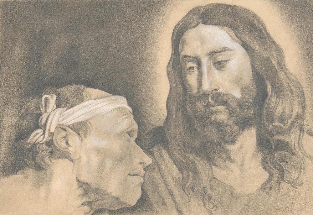 Representación a lápiz de una de las  obras del joven Van Dyck.
