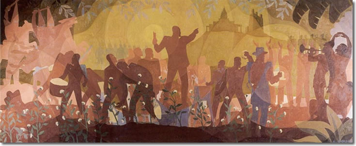 "Aaron Douglas. Aspects of Negro Life: From Slavery Through Reconstruction.  &#8211; <a href=""http://exhibitions.nypl.org/treasures/items/show/170"" target=""_blank"">exhibitions.nypl.org</a>"