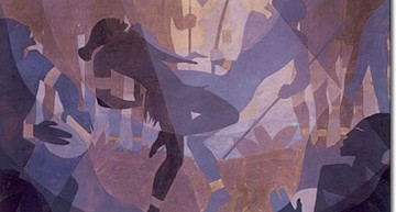 "Aaron Douglas. Aspects of Negro Life: The Negro in an African Setting.  &#8211; <a href=""http://exhibitions.nypl.org/treasures/items/show/170"" target=""_blank"">exhibitions.nypl.org</a>"