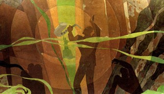 "Aaron Douglas. Aspects of Negro Life: Song of the Towers. &#8211; <a href=""http://exhibitions.nypl.org/treasures/items/show/170"" target=""_blank"">exhibitions.nypl.org</a>"