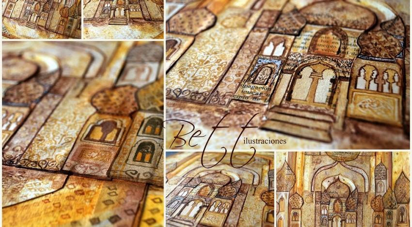 Sueño de Arabia. Collage y acuarela.