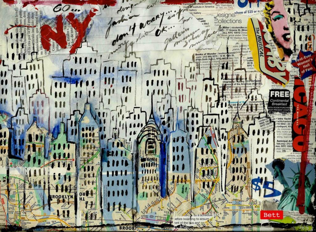 Serie de collages realizada con una guía encongada en la calle de Ny - Bett (Copyright)