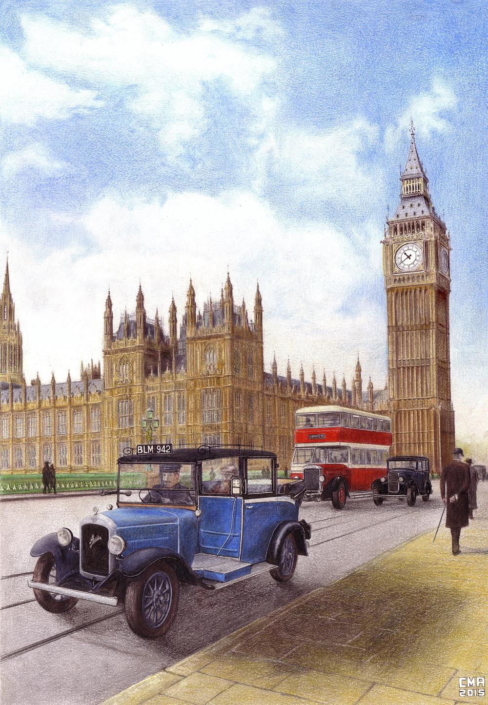 Ilustración del Londinense Puente de Westminster con el parlamento de fondo.