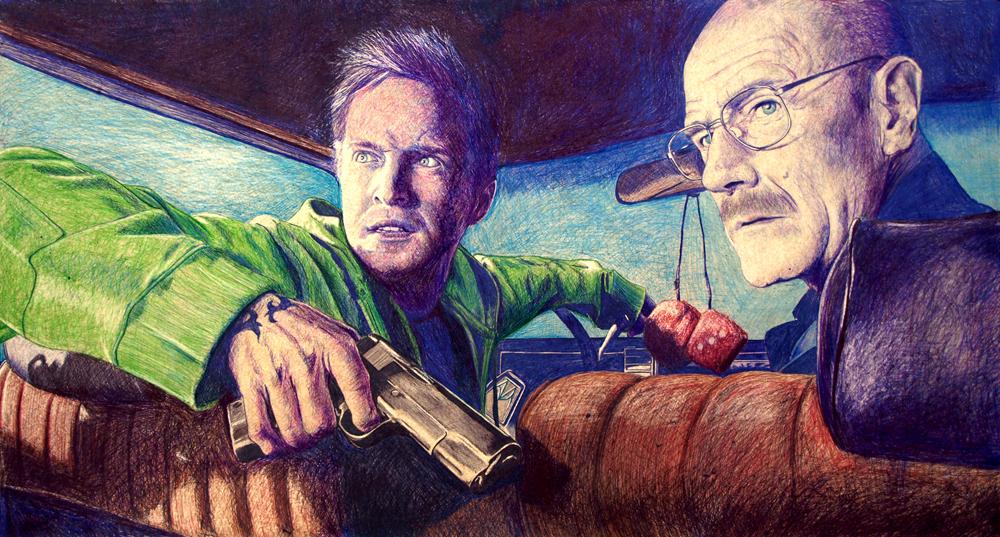 Ilustración de la serie Breaking Bad - Boli BIC sobre tablero DM, 100x52 cm