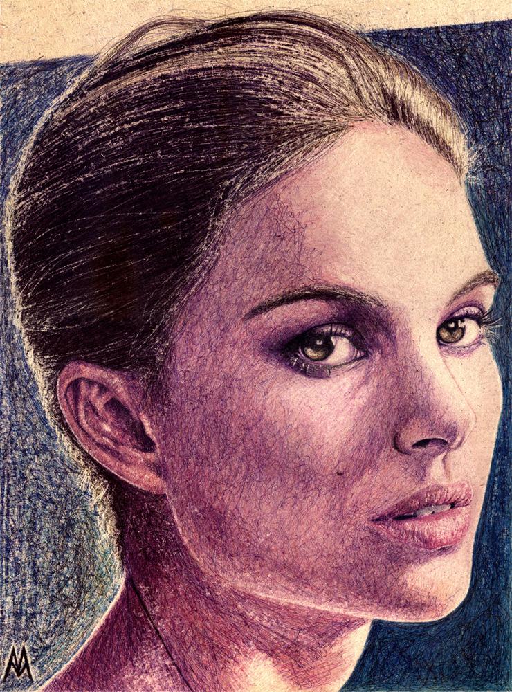 Natalie Portman - Boli BIC sobre tablero DM, 40x29,5 cm.
