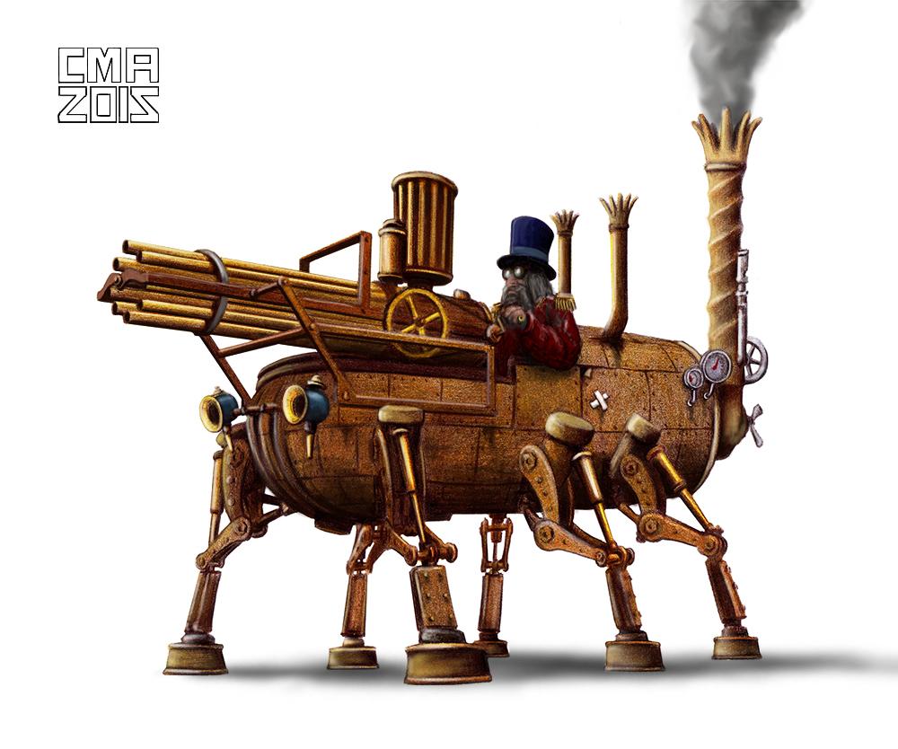 Steampunk tank ilustraci n de carlos molina dafy magazine - Steampunk bett ...