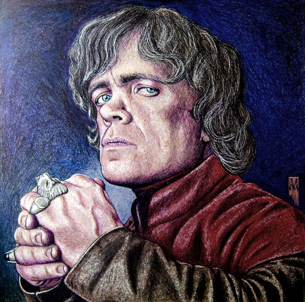 Peter Dinklage como Tyrion Lannister en Juego de Tronos -  Boli BIC sobre tablero DM, 42x42 cm