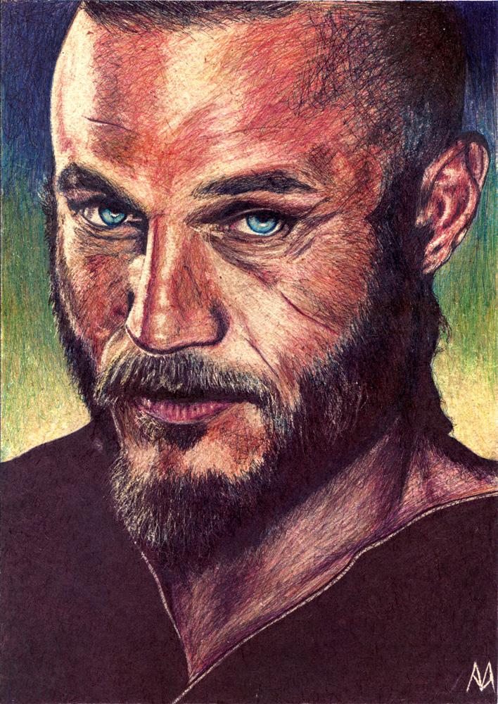 Travis Fimmel como Ragnar Lothbrok en la serie Vikingos [Boli BIC sobre tablero DM, 21x29,5cm]