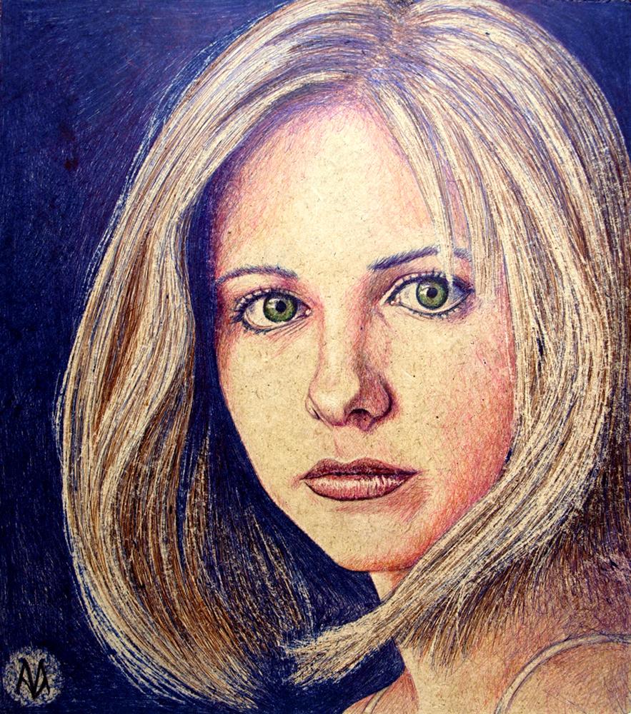 Sarah Michelle Gellar como Buffy Summers [Boli BIC sobre tablero DM, 26x29,5 cm]