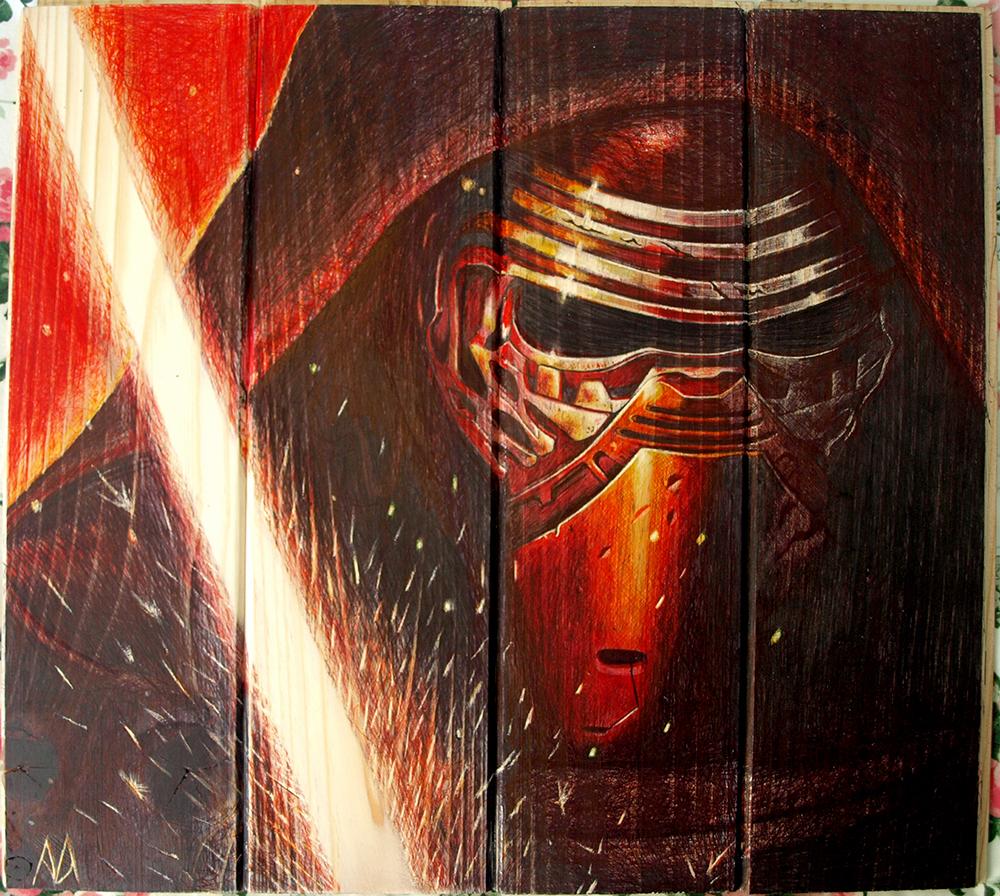 Kylo Ren en Star Wars episodio VII - El despertar de la Fuerza [Boli BIC sobre madera de pino, 40x36cm]