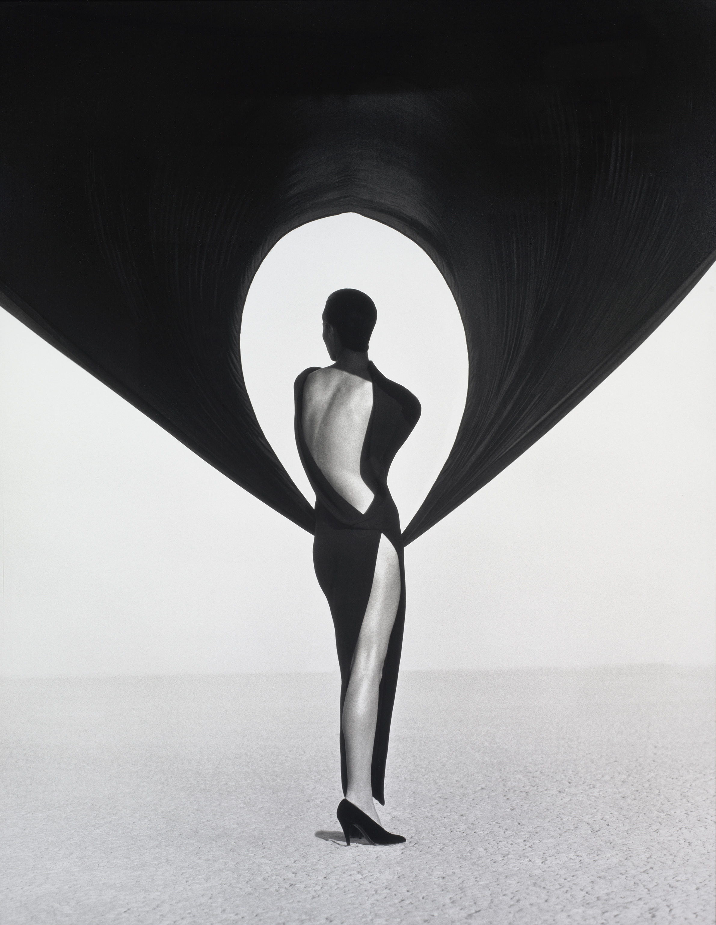 Versace Dress, Back View, El Mirage Herb Ritts (American, 1952–2002) 1990 Photograph, gelatin silver print * Gift of Herb Ritts © Herb Ritts Foundation * Photograph © Museum of Fine Arts, Boston