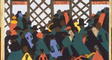 "Jacob Lawrence. Panel 1.  – <a href=""http://www.phillipscollection.org/collection/migration-series"" target=""_blank"">phillipscollection.org</a>"