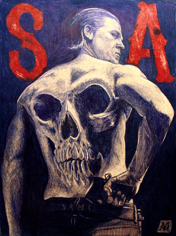 SoA - Boli BIC sobre tablero DM, 40x29,5 cm