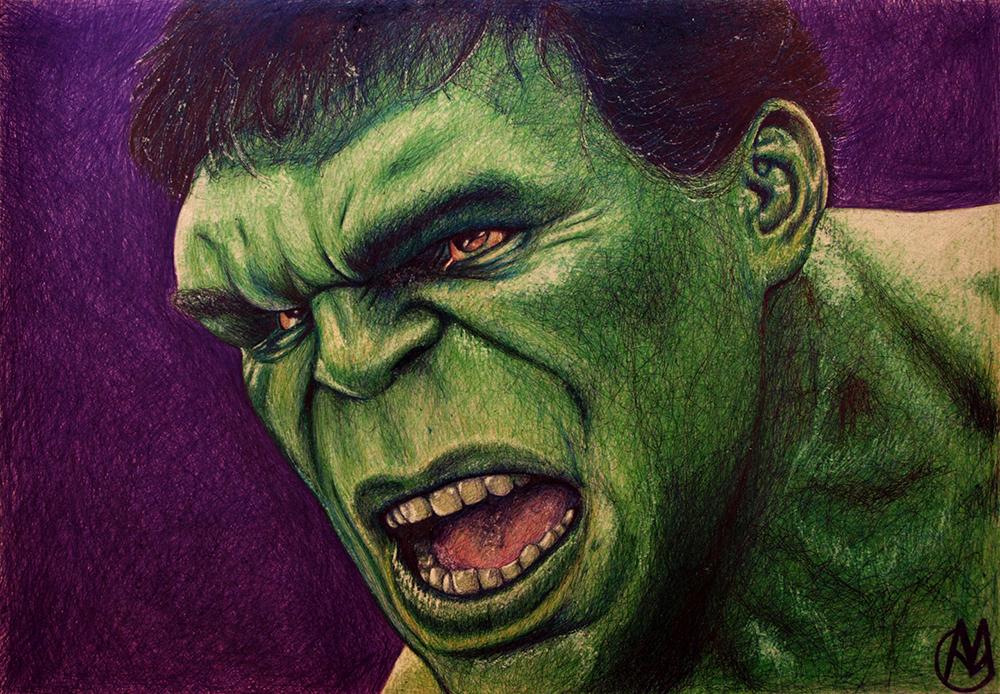 Hulk en Los Vengadores: La era de Ultrón [Boli BIC sobre tablero DM, 42x62cm]